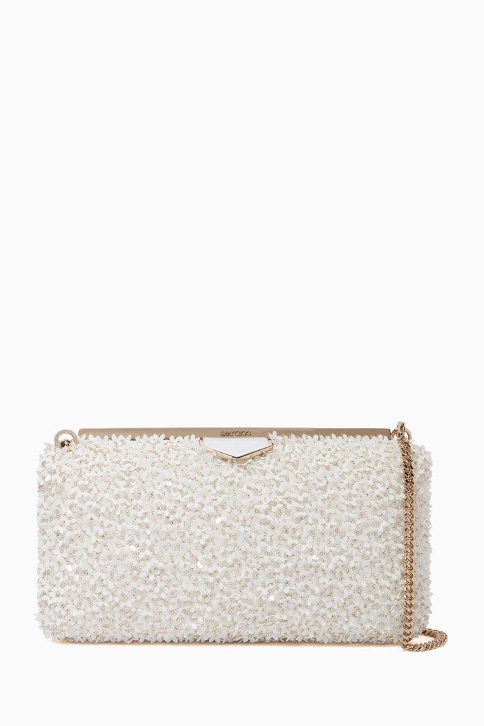 Ellipse Flower Sequin Suede Clutch Bag