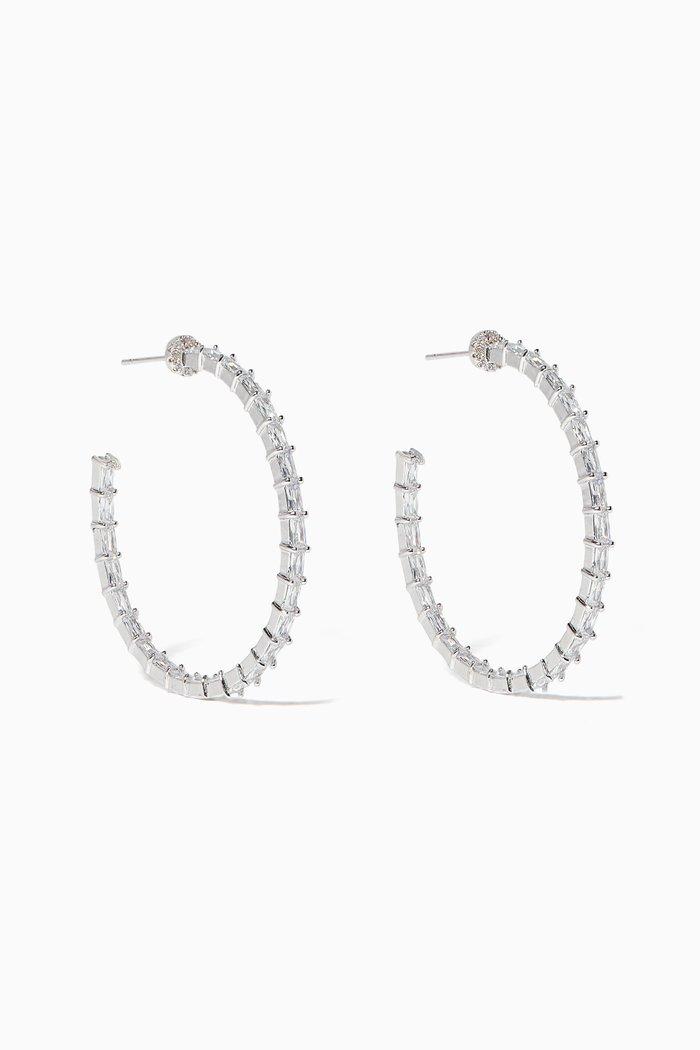 Inside Out Baguette Stones Hoop Earrings