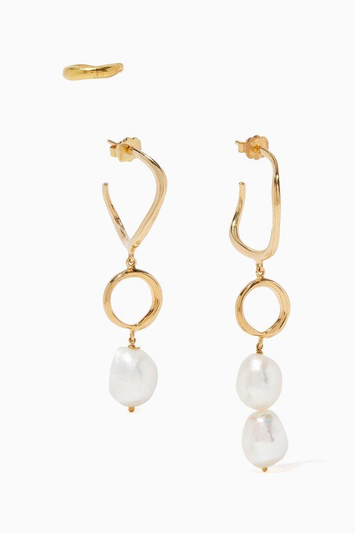 Feminine Waves Pearl Earrings, Set of Three
