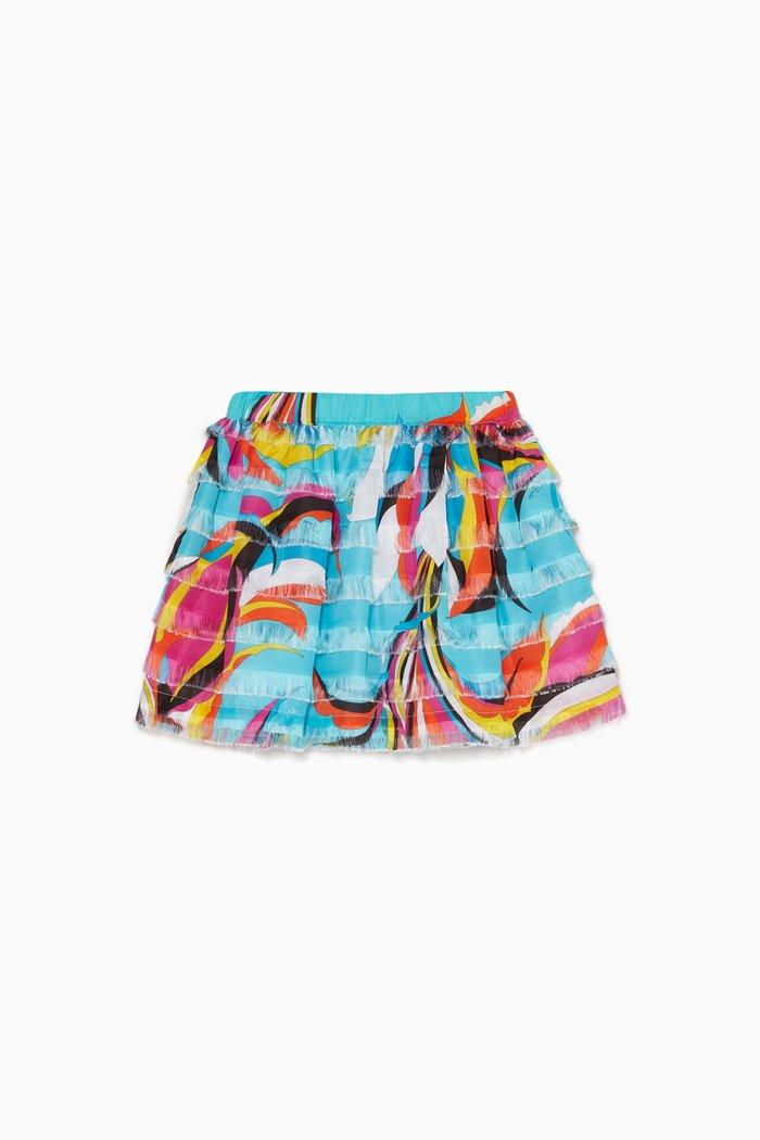 Floral Print Fringed Skirt