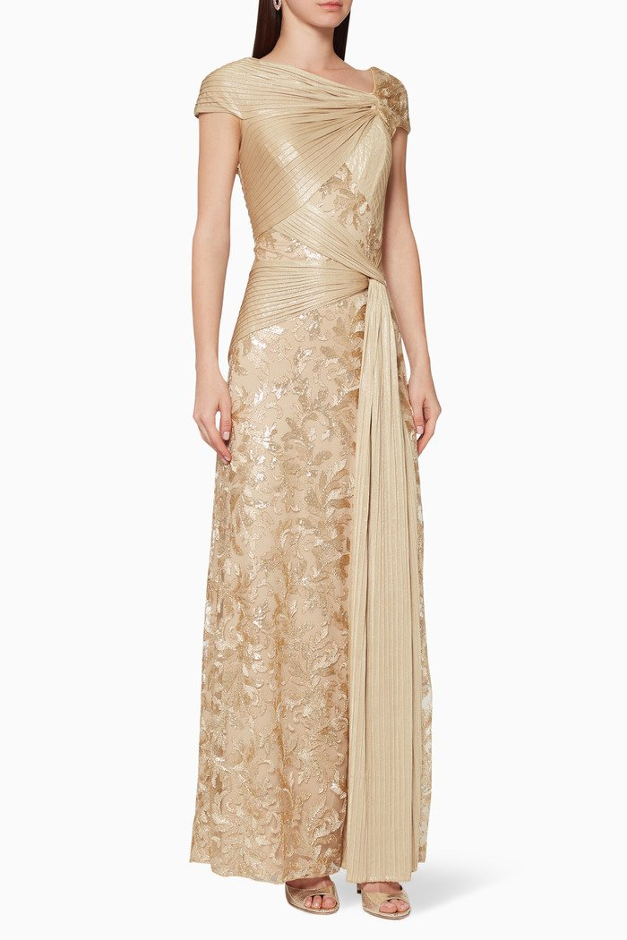 Anise Draped Sequin Gown