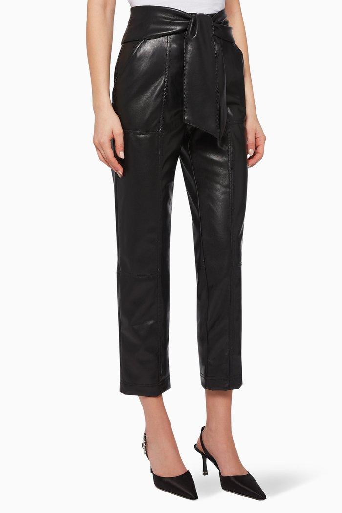 Faux Leather Tie Waist Pants