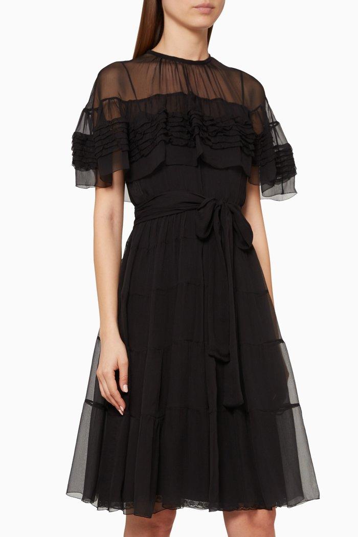 Ruffle-Trimmed Silk Mini Dress