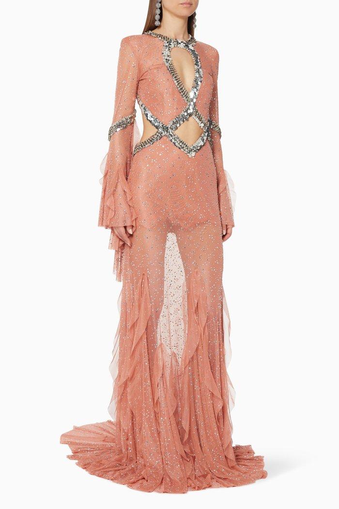 Strass Embellished Lace Maxi Dress
