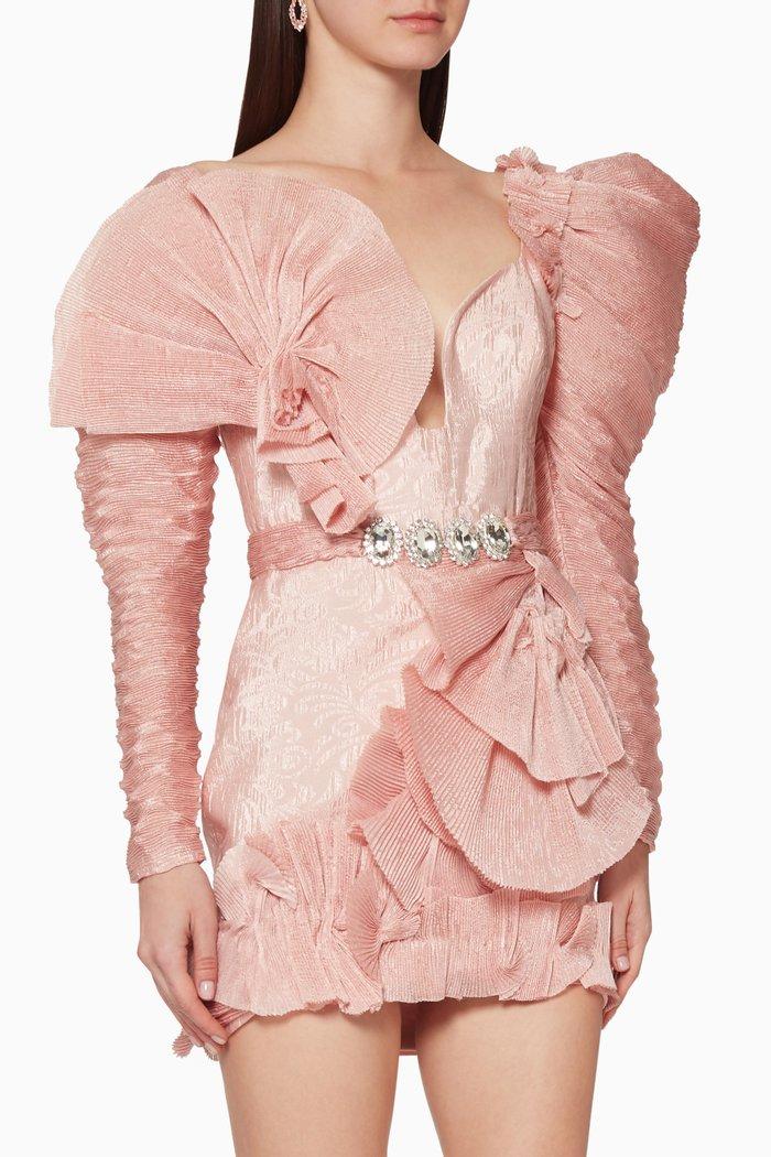 Ruffle Frill Embellished Mini Dress