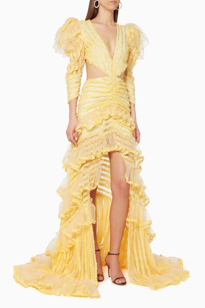 Ruffled Cut-Out Maxi Dress