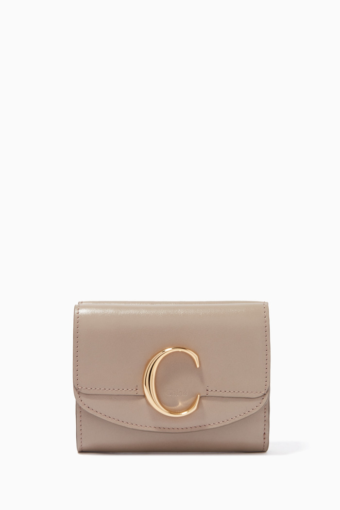 Small Chloé C Bag in Shiny & Suede Calfskin