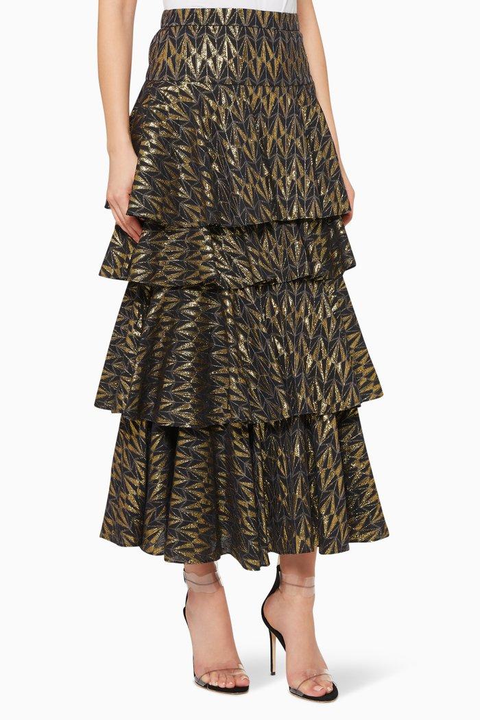 Anita Metallic Tiered Skirt