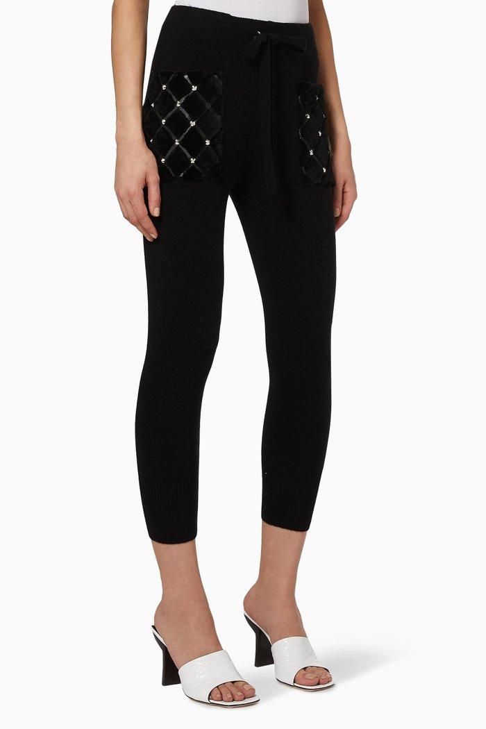 Studded Fur Pocket Knit Pants