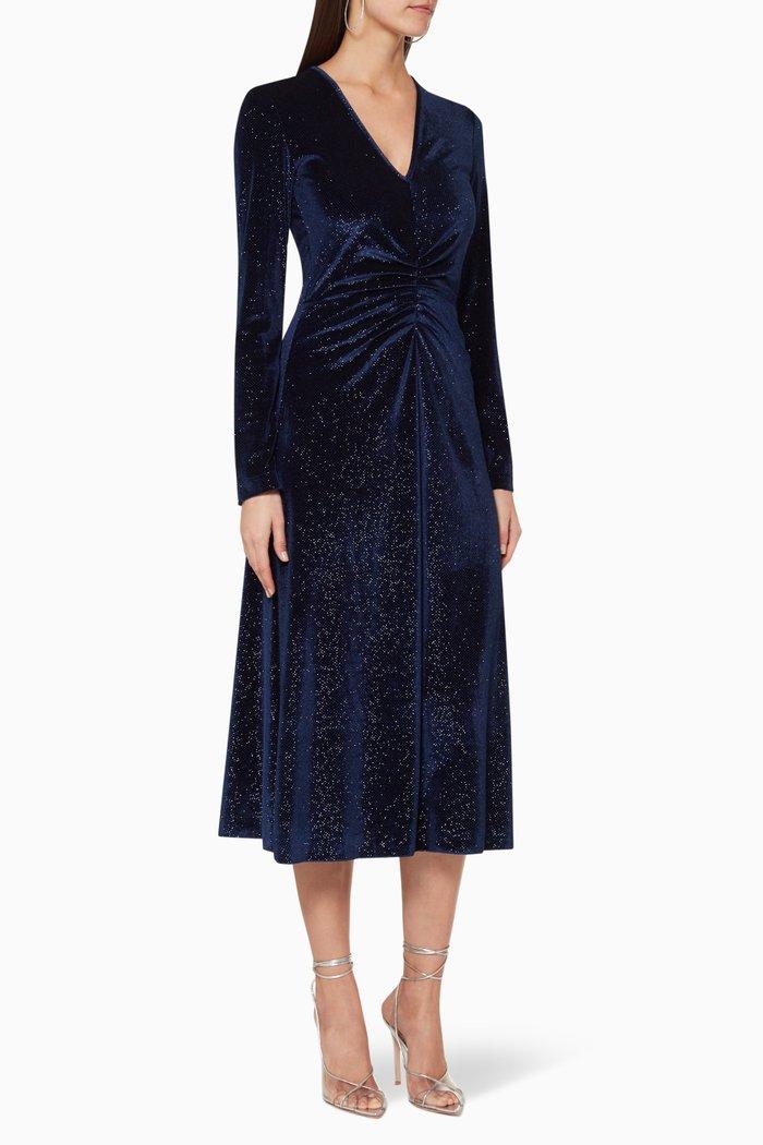 Long-Sleeve Velvet Midi Dress