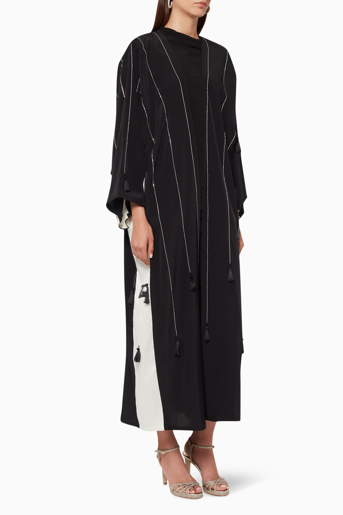 Embroidered Contrast-Trimmed Abaya