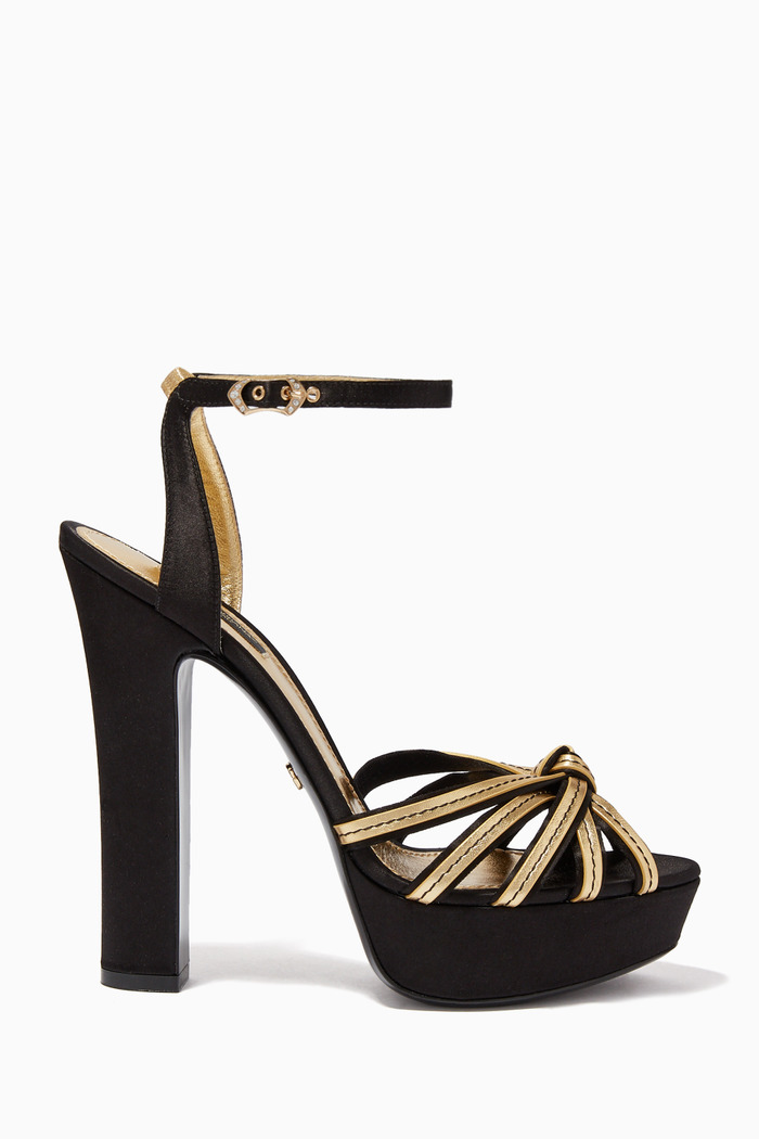 Bianca Satin & Mordoré Platform Sandals
