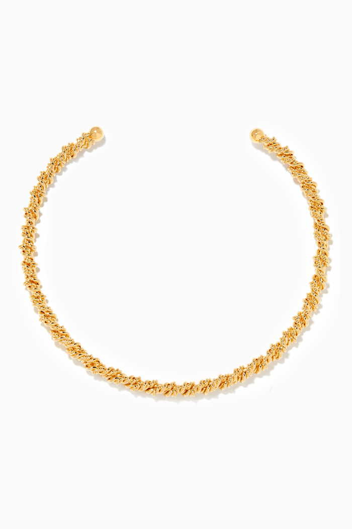 Twisted Gold-Plated Arc Necklace