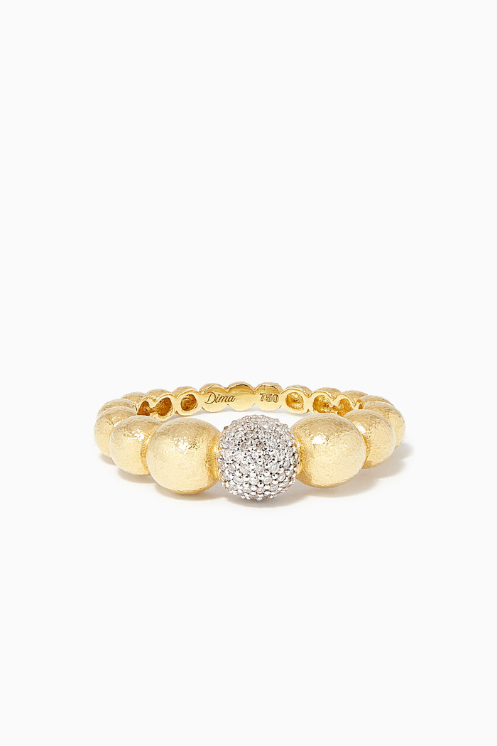 Gold Diamond Ball Ring