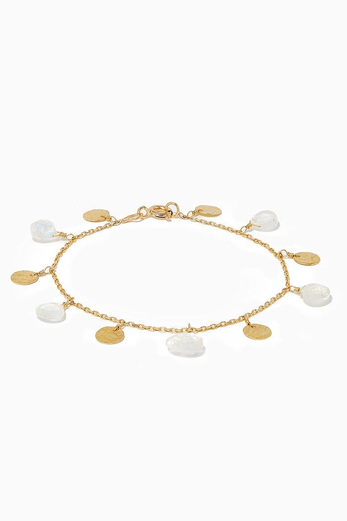 Gold Moonstone Coin Bracelet