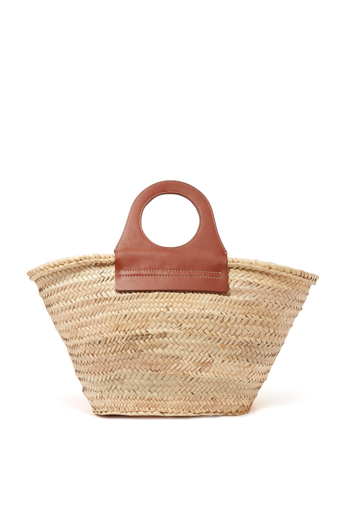 Cabas Tote Bag in Straw & Leather