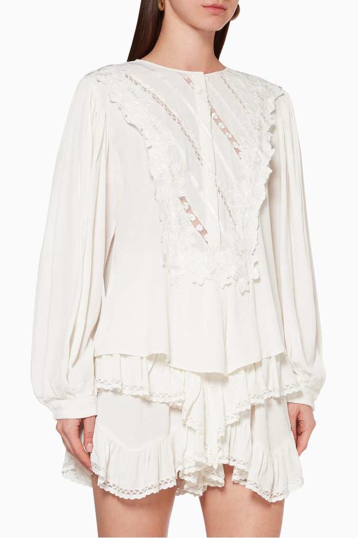 Londrina Embroidered Crepe Top