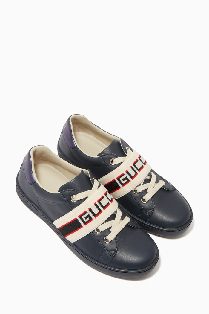 Ace Gucci Stripe Leather Sneakers