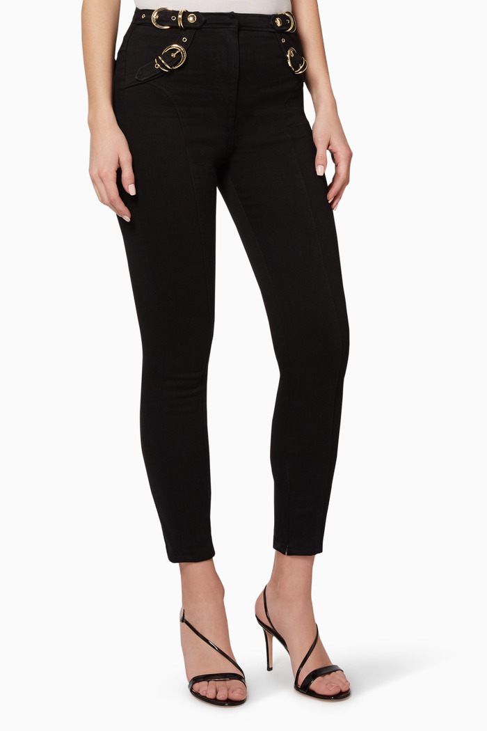 High-Waisted Buckle Detail Jeans