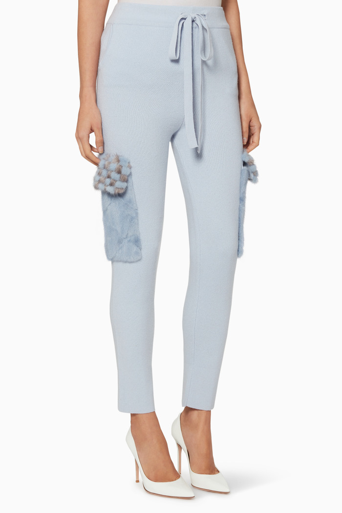 Mink-Fur Pocket Knit Pants