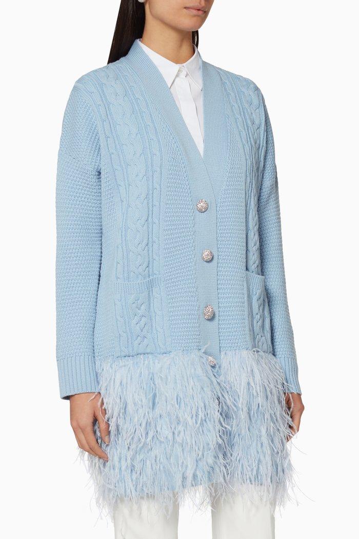 Feather Trim Knit Cardigan