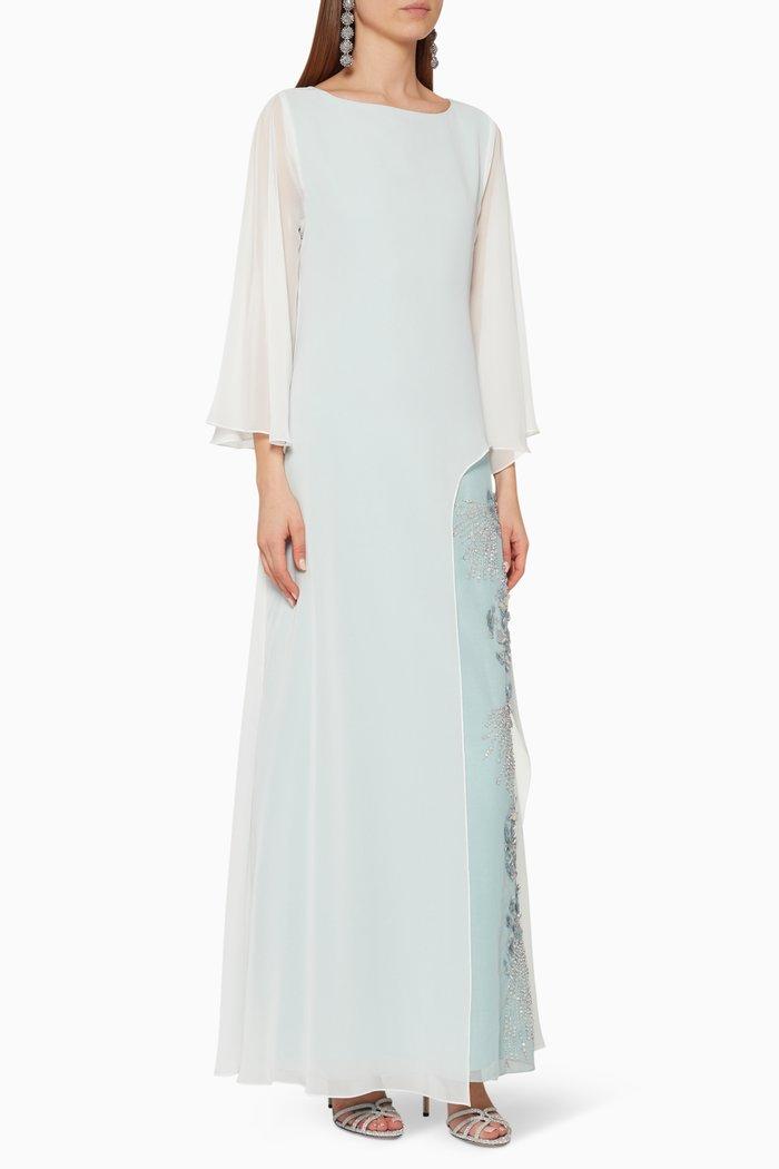 Chiffon Overlay Embroidered Dress