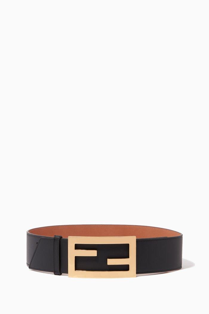 FF Baguette Buckle Leather Belt