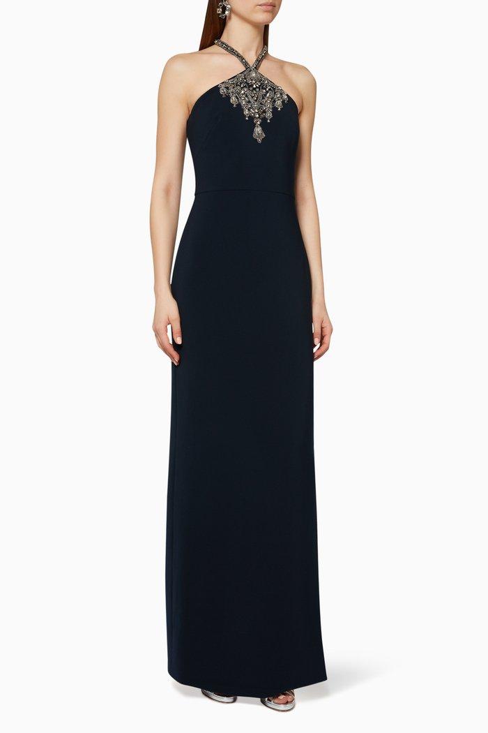 Embellished Crepe Halter Gown