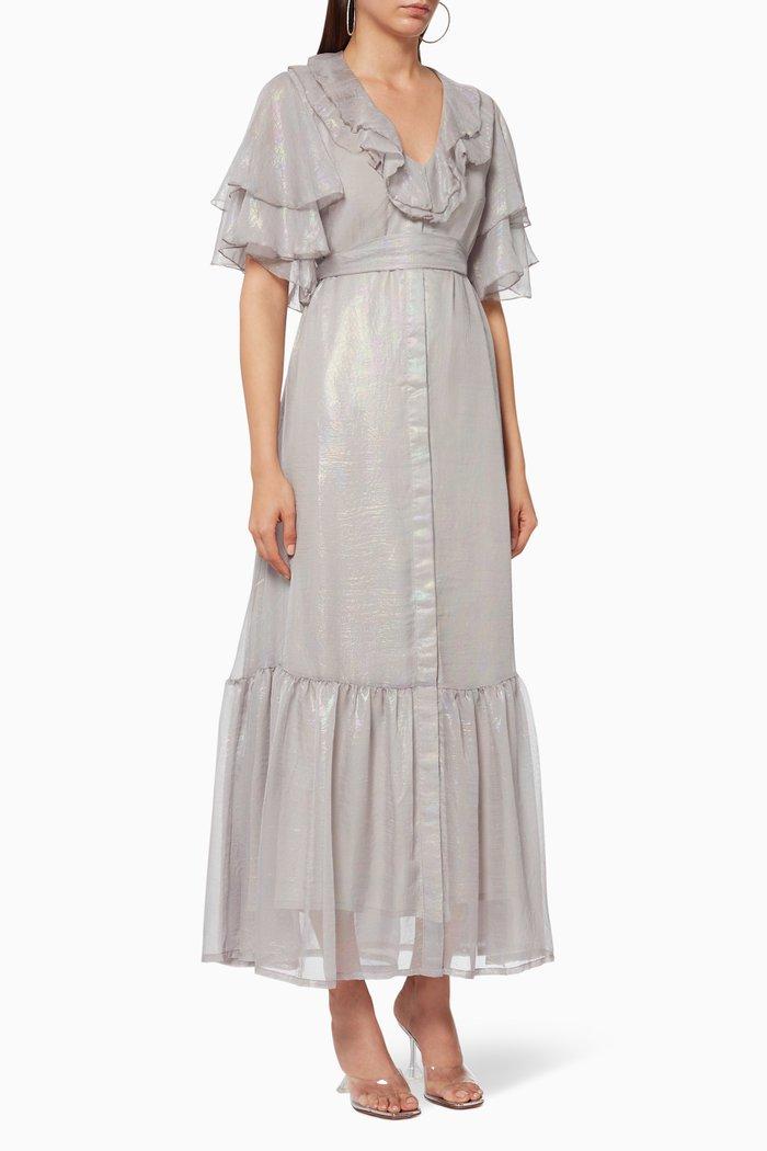 Foil Print Frilled Dress