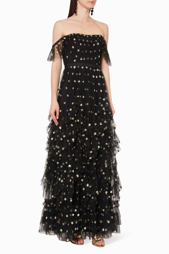 Sequin Dot Tulle Gown