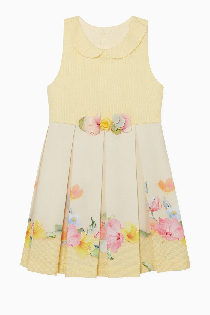 Floral Pleated Cotton Dress