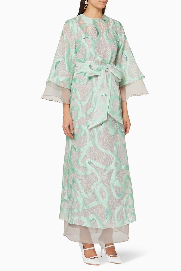 Flared Brocade Organza Dress