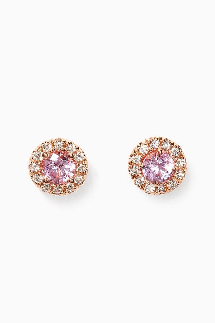 Mini Circle Pink Sapphire Stud Earrings