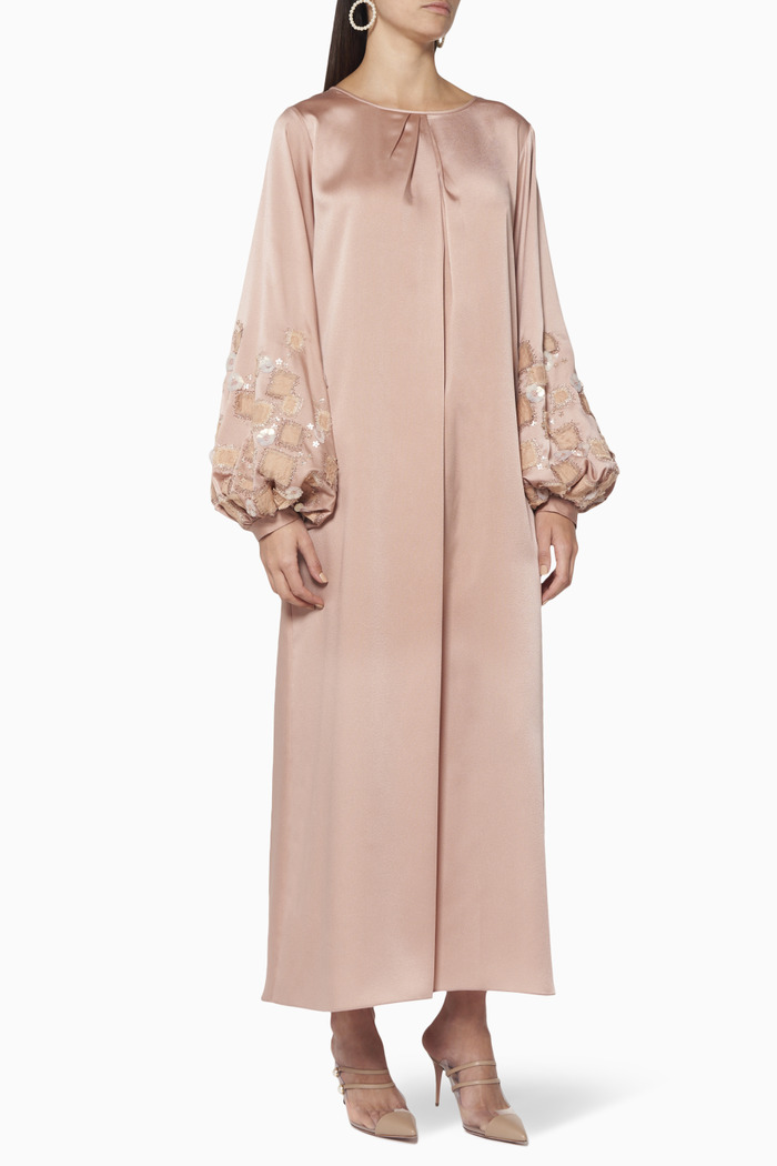 Embellished Satin Kaftan