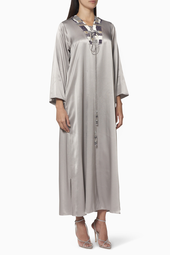 Beaded Satin Kaftan