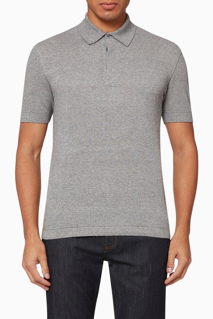 Mélange Cotton Silk Polo Shirt