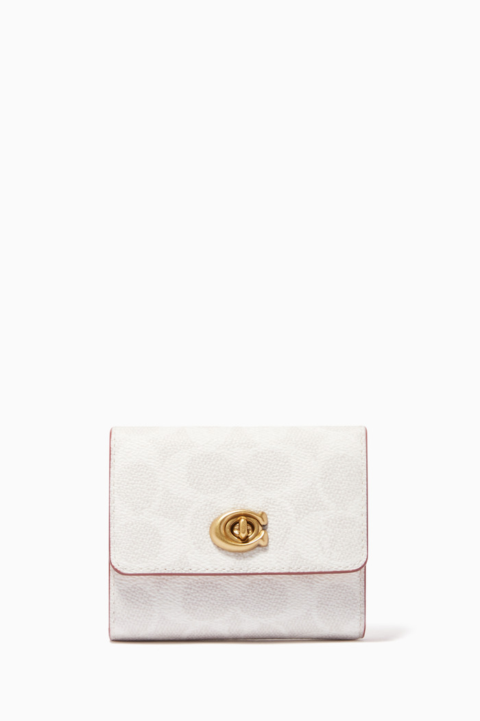 Signature Turnlock Small Wallet in Blocked Signature Canvas
