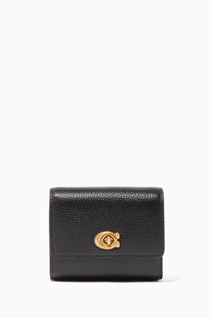 Signature Turnlock Small Wallet in Pebble Leather