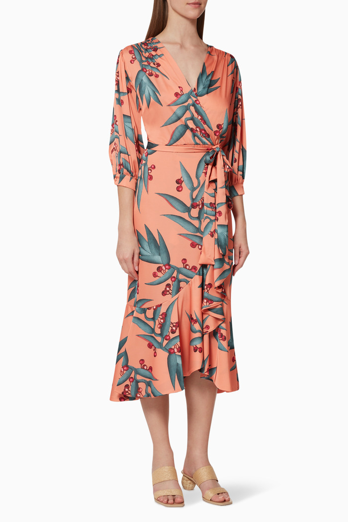 Floral Print Crepe Wrap Dress