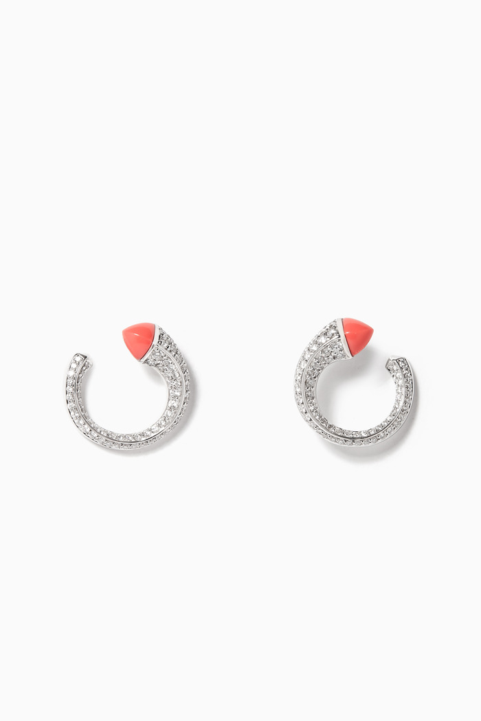 Cleo Venus Pink Coral & Diamond Earrings in 18kt White Gold