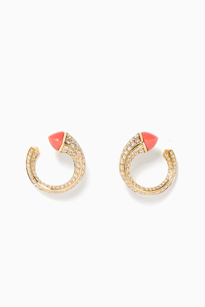 Cleo Venus Pink Coral & Diamond Earrings in 18kt Yellow Gold