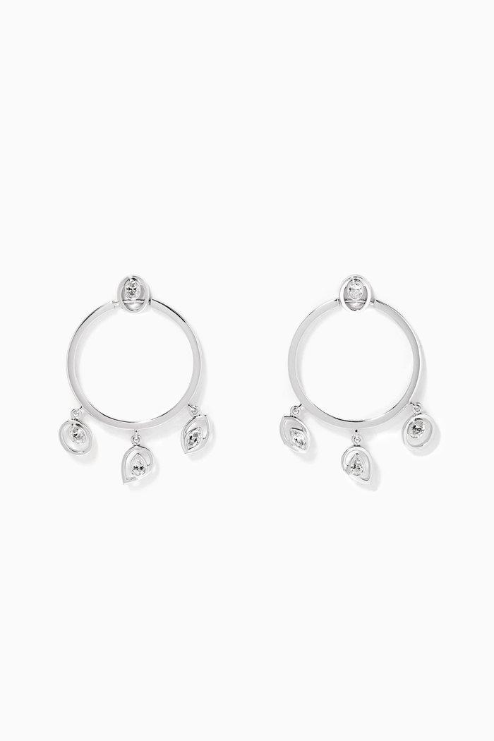 Rock Charm Diamond Earrings in 18kt White Gold