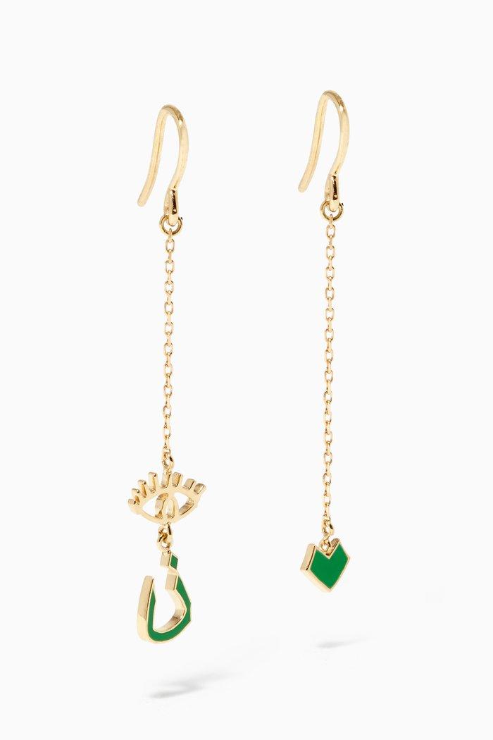 Mina N Letter Enamel Drop Earrings in 18kt Yellow Gold