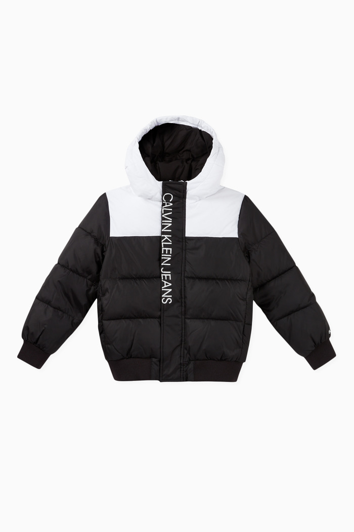 Colour-Block Recycled Nylon Puffer Jacket