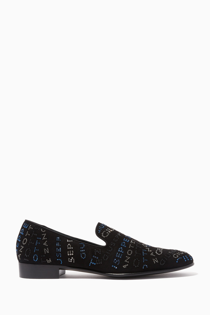 G-Glam Loafers in Crystal-Embellished Suede