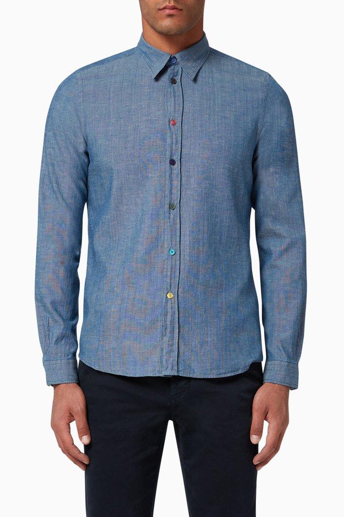 Tailored-Fit Cotton Denim Shirt
