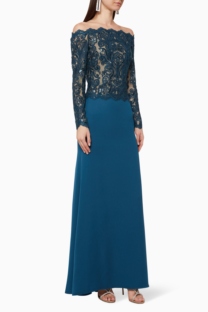 Lace Sequin Gown