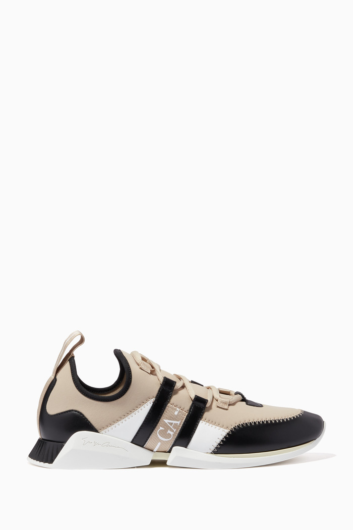 Knit Runner Sneakers in Canvas & Leather