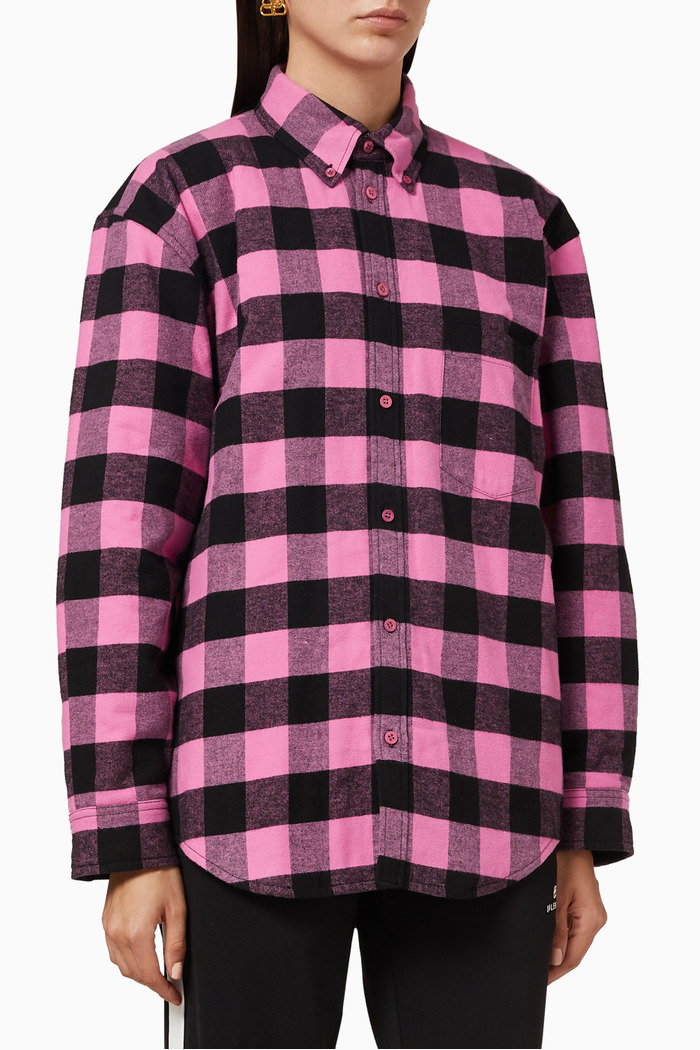 Checked Padded Shirt in Cotton Flannel