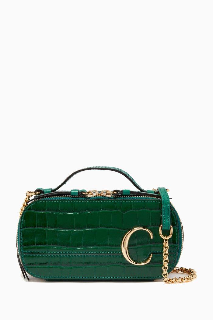 Chloé C Mini Vanity Bag in Embossed Croco-effect Calfskin